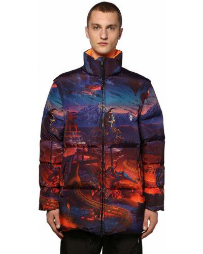 Długa kurtka z nylonu z długimi rękawami z printem Marcelo Burlon County Of Milan