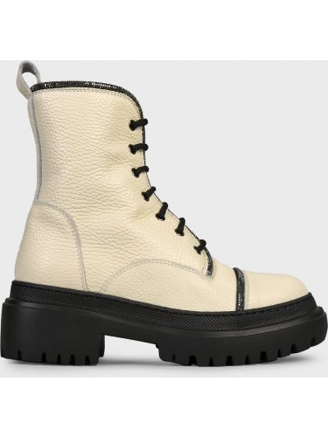 Кожаные ботинки - белые Pollini