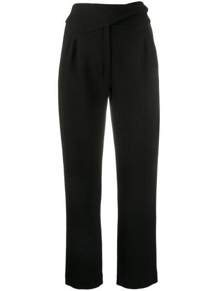 Черные брюки с запахом с карманами с высокой посадкой Blazé Milano