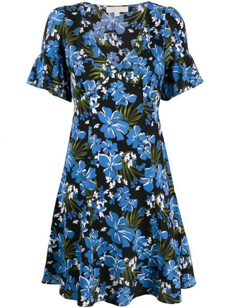 Платье мини с цветочным принтом с V-образным вырезом Michael Michael Kors