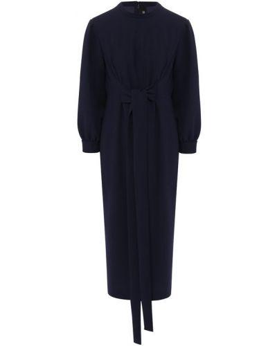 Платье миди с поясом из вискозы Poustovit