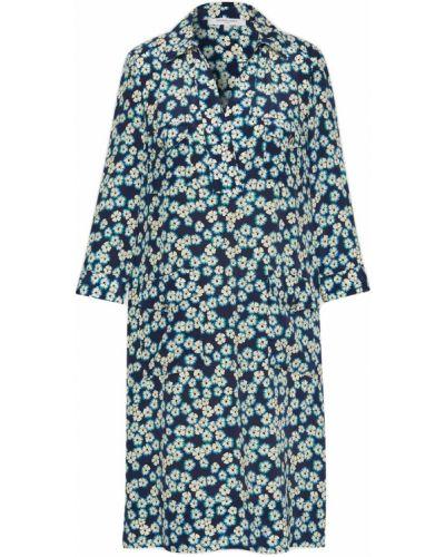 Шелковое синее платье Gerard Darel