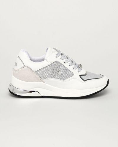 Białe sneakersy na platformie skorzane Liu Jo