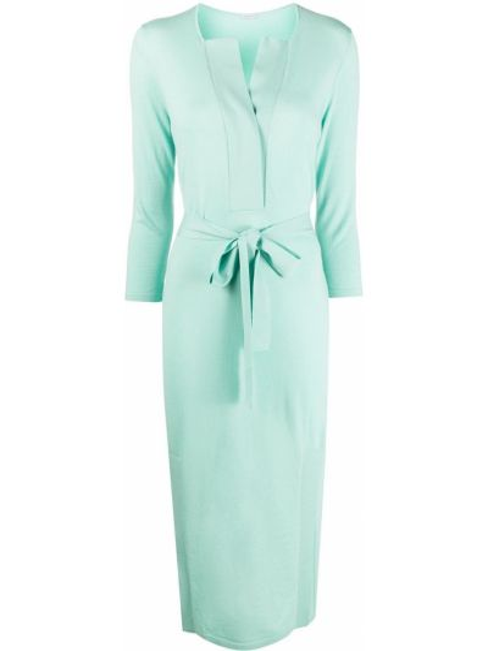 Зеленое шерстяное платье миди с V-образным вырезом с завязками Malo
