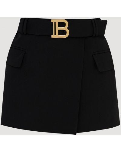 Черная шерстяная юбка Balmain