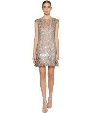 Платье мини с пайетками с вышивкой Alberta Ferretti