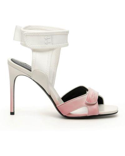 Sandały skorzane na rzepy w paski Off-white