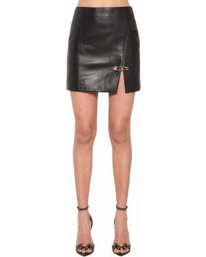 Юбка мини с завышенной талией кожаная Versace