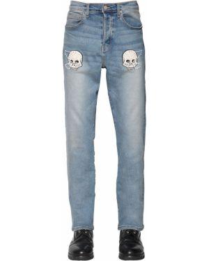 Niebieskie jeansy z haftem skorzane Lost Daze Ca