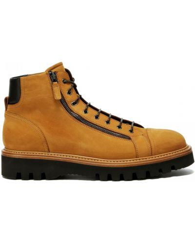Коричневые кожаные ботинки на шнуровке Franceschetti