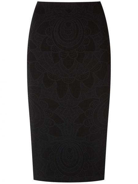 Черная юбка миди с поясом в рубчик из вискозы Martha Medeiros