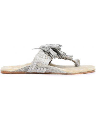 Sandały skorzane z frędzlami Figue
