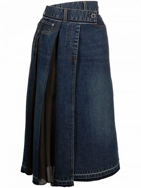 Синяя хлопковая юбка миди Sacai