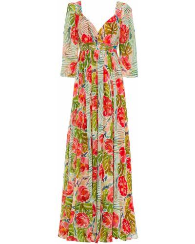 Платье макси с пайетками - зеленое Badgley Mischka