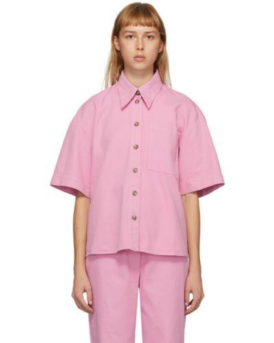 Różowy z rękawami koszula jeansowa z kołnierzem z kieszeniami Rika Studios