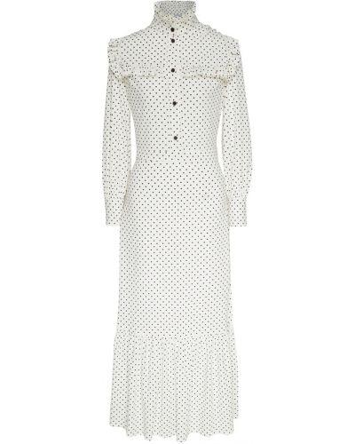 Белое платье миди свободного кроя с оборками ли-лу