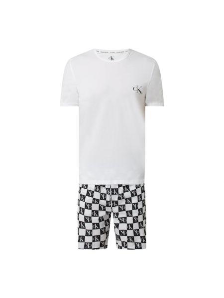 Biała piżama bawełniana zapinane na guziki Calvin Klein Underwear