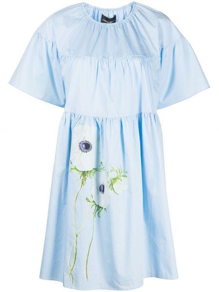 Платье мини в цветочный принт - синее Cynthia Rowley