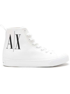 Хлопковые белые высокие кеды на шнуровке Armani Exchange