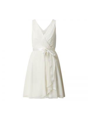 Biała satynowa sukienka koktajlowa rozkloszowana Paradi