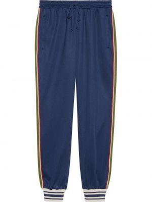 Bawełna niebieski spodnie z paskami Gucci