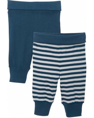 Синие брюки в полоску с поясом Bonprix