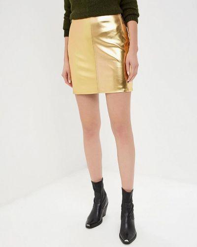 Кожаная юбка золотой Tutto Bene