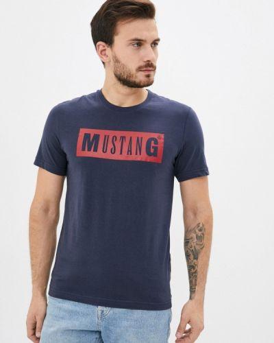 Синяя с рукавами футболка Mustang