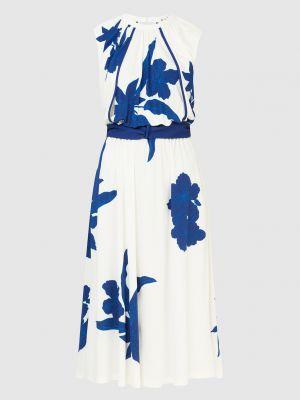 Белое платье миди с открытой спиной Loro Piana