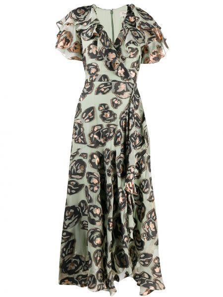 Шелковое платье миди с запахом с воротником с оборками Temperley London