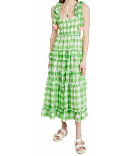 Зеленое шифоновое платье на бретелях Sundress