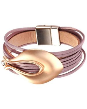 Кожаный браслет с камнями золотой Evora