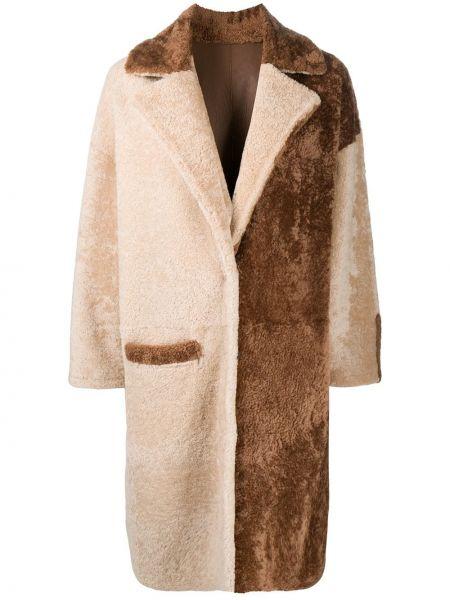 Коричневое кожаное пальто классическое с карманами Simonetta Ravizza