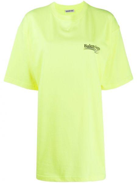 Bawełna żółty prosto koszula z krótkim rękawem okrągły dekolt Balenciaga