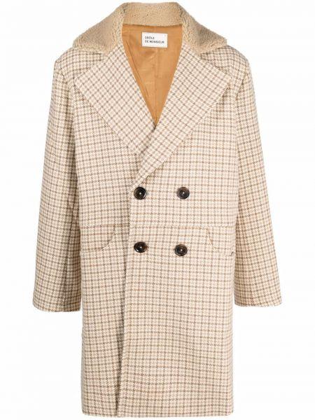 Beżowy płaszcz dwurzędowy wełniany Drole De Monsieur