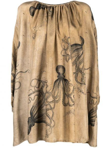 Beżowy asymetryczny z rękawami bluzka Uma Wang