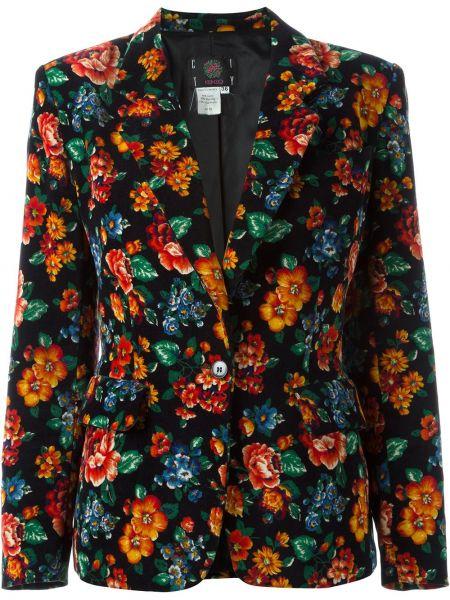 Черный пиджак с карманами винтажный на пуговицах Kenzo Pre-owned