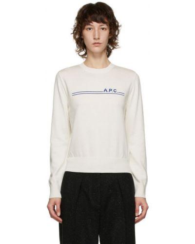 Белый кашемировый свитер с воротником с длинными рукавами A.p.c.