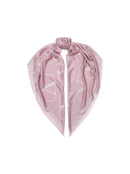 Розовая шелковая шаль Valentino