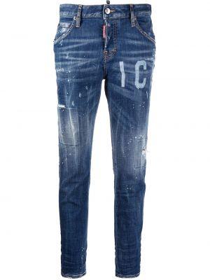 Кожаные синие джинсы классические с карманами Dsquared2