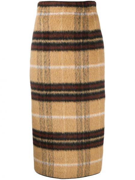 Прямая с завышенной талией юбка миди на молнии с разрезом N°21
