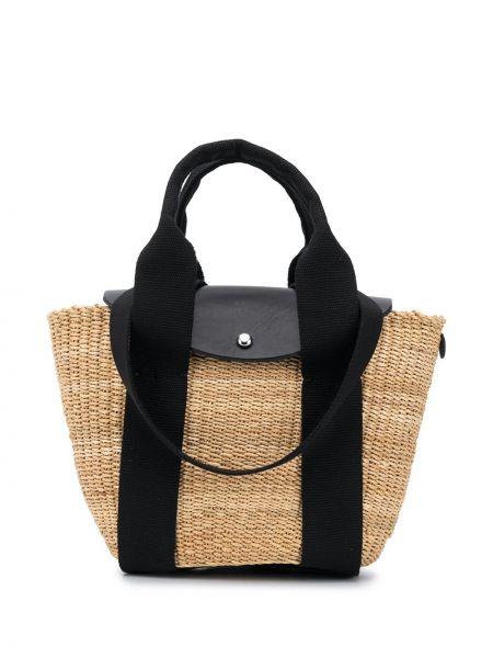 Кожаная черная сумка-тоут круглая с подкладкой Muun