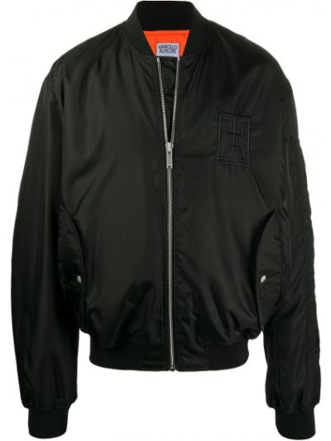 Czarna długa kurtka z haftem z nylonu Marcelo Burlon County Of Milan