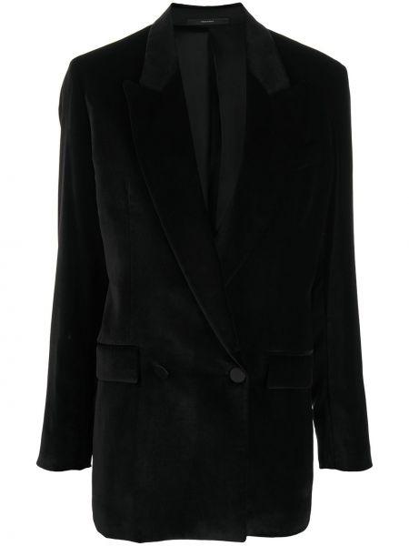 С рукавами черное длинное пальто двубортное Paul Smith