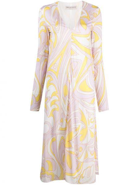 Розовое платье макси с вырезом из вискозы Emilio Pucci