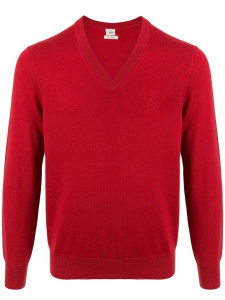 Z kaszmiru pulower z długimi rękawami z dekoltem w serek Kent & Curwen
