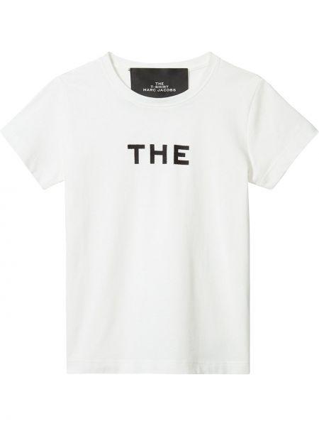 Хлопковая с рукавами белая рубашка Marc Jacobs