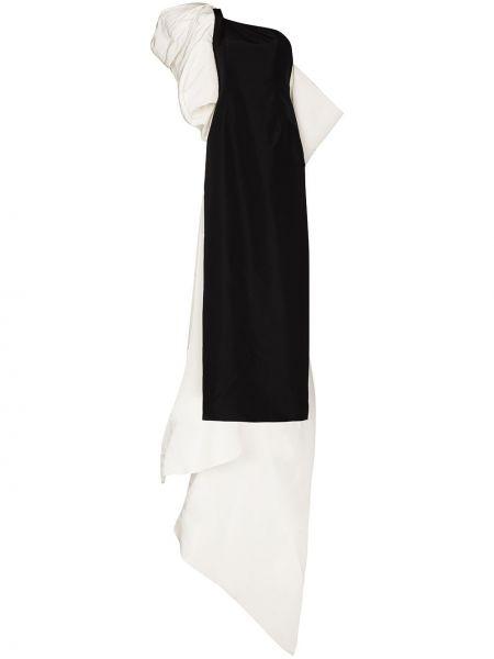 Шелковое черное платье на одно плечо Carolina Herrera