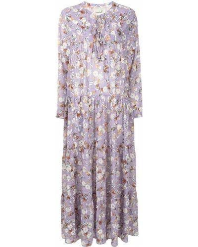 Фиолетовое шелковое платье макси в цветочный принт Bambah