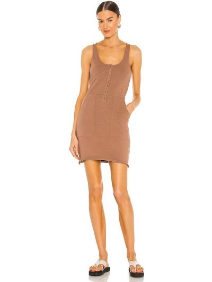 Хлопковое коричневое платье рубашка Nation Ltd